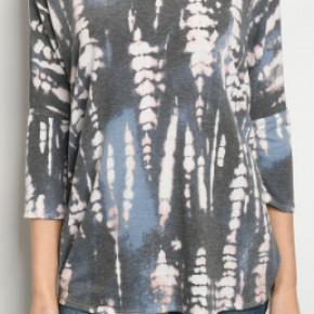 Charcoal 3/4 Sleeve Tie Dye Top