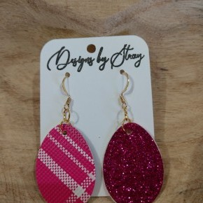 pink glitter and plaid egg earrings