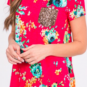 Fuchsia floral top with sequin pocket