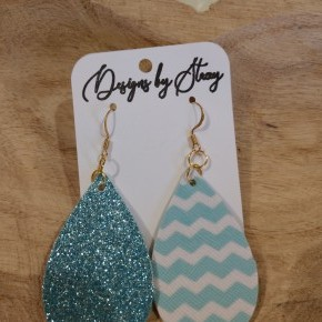 mint glitter and chevron earrings
