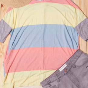 Pink Multi Stripe Pocketed Top