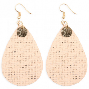 Weaved Fiber Teardrop Earrings
