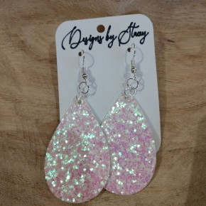 white iridescent glitter earrings