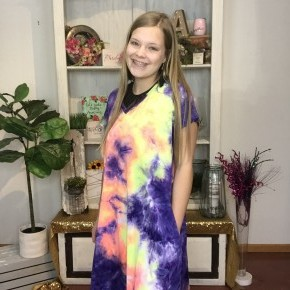 v-neck multi tie dye dress