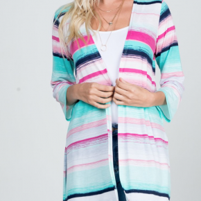 Multicolor Stripe Kimono Cardigan With Side Slit