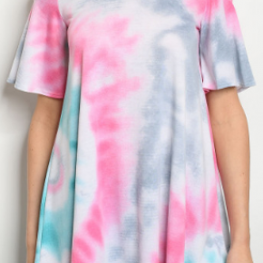 Pink & Aqua Tie Dye Cold Shoulder Top