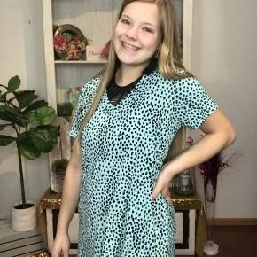 Mint cheetah top