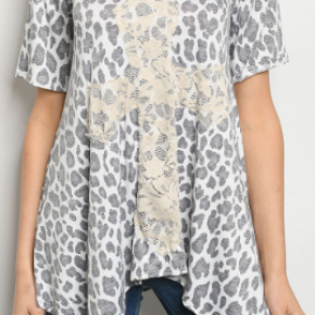 Plus Size Animal Print w/Lace Cross Top