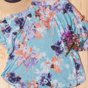 Blue Floral Bell Sleeve Top
