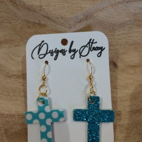 Turquoise Polka Dot Cross Earrings
