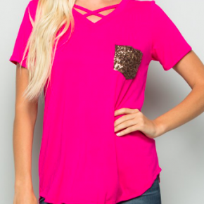 cross front top with sequin pocket