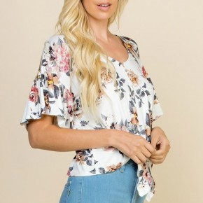 Peony Floral Crop Top - White