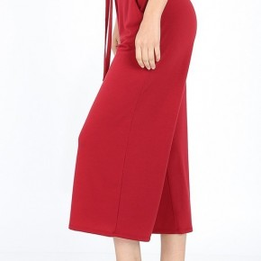 Cropped Lounge Pants - Red