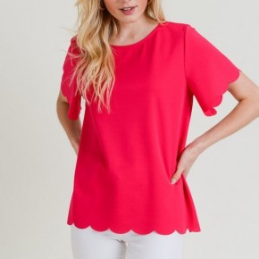 Scallop Edge Tee - Pink