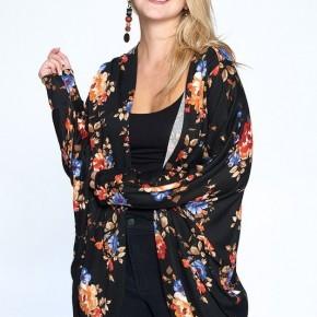 Fall Blooms Sweater Kimono - Black