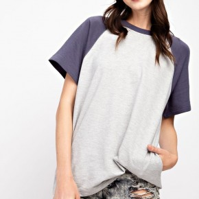 BASIC COTTON TEE COLOR BLOCK KNIT LOOSE FIT TOP
