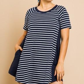 Color Block Pocket Dress - Navy Stripe