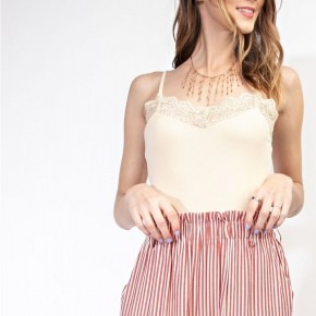 STRETCHY CAMI LACE ADJUSTABLE SPAGHETTI STRAP TOP