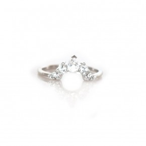 WHITE TOPAZ ANGELS ARC RING - Sterling Silver or Rose Gold