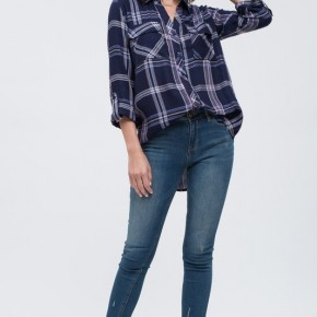 Ariel Plaid Top - Navy