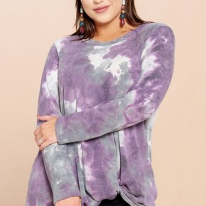 Tie-Dye Printed Gathered Front Knit Top - Purple