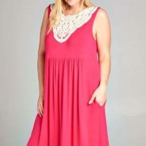 Curvy Crochet Neck Sleeveless Dress - Pink