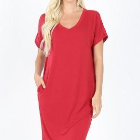 Rolled Sleeve V-Neck Dress - Red