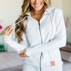 A&A Back To Basics Light Grey Full Zip Hoodie
