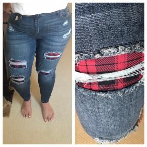 Judy Blue  Buffalo Plaid Patch Skinny Jeans