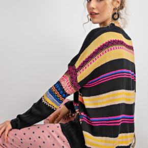 Easel Boho Knit Sweater - Black