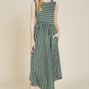 The Jane Dress - Olive with Ivory Stripes