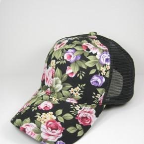 Black Floral Baseball Cap