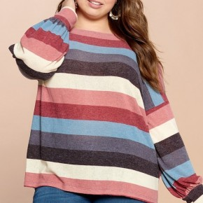 Color-Blocked Loose-Fit Knit Stripe Top