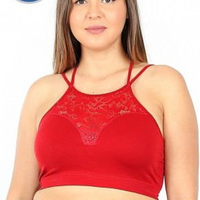 Lace Cutout Bralette - Red