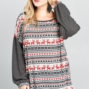 Reindeer and Snowflakes Knit Christmas Sweater