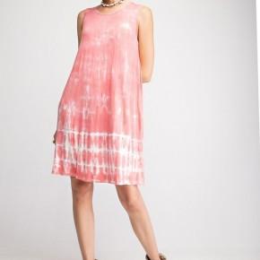 Easel Tide Away Tie Dye Tank Dress - Coral