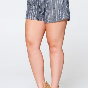 Belted Striped Linen Shorts