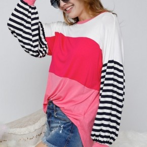 Carolina Bubble Sleeve Top- Pink