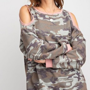 Easel Cold Shoulder Camo Pullover