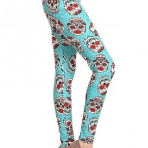 Teal Sugar Skull Leggings