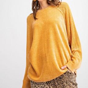 Easel Velvet Pullover - Butterscotch