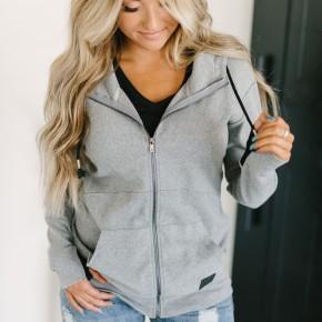 A&A Full Zip Grey Hoodie