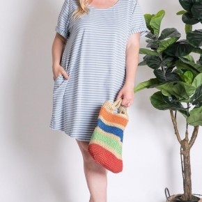 Nautical Button Back Crew Dress - Light Blue