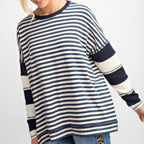 Easel Keepin' It Casual Rugby Stripe Top - Navy