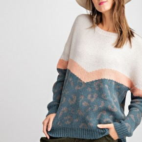 Cozy Leopard Pullover Sweater - Teal
