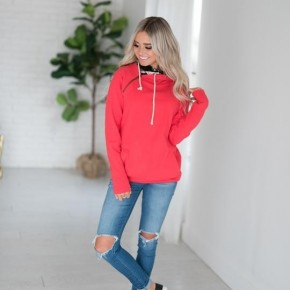 A&A DoubleHood Sweatshirt - Bright Pink with Floral Accent