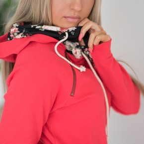 Bright Red DoubleHood with Floral Accent