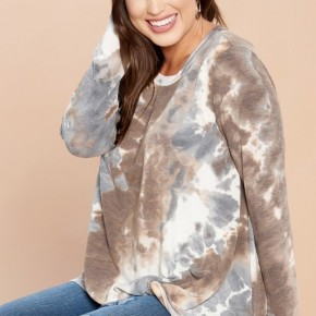 Tie-Dye Printed Gathered Front Knit Top - Mocha