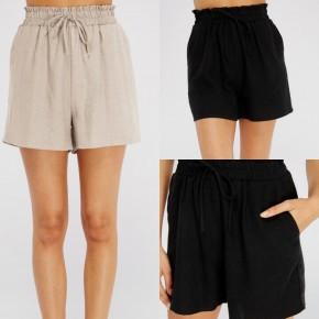 Smocked High Waist Linen Shorts