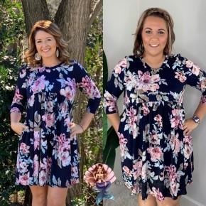Navy Floral 3/4 Sleeve Babydoll Dress